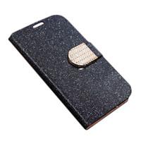 Wholesale Galaxy S4 Luxury Wallet Gold - S5Q Luxury Flip PU Leather Wallet Case Diamond Flip PU Leather Wallet Cases For Samsung Galaxy S4 Mini I9190 AAAEML