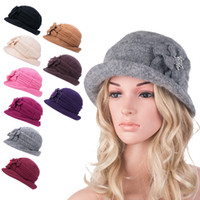 Wholesale Womens Bucket Hat Pink - Womens Gatsby Style 1920s Flapper Girl Winter Wool Cap Beret Beanie Cloche Bucket Formal Hat A299