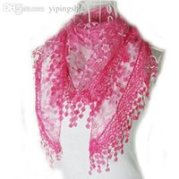 Wholesale Wholesale Lace Shawl Scarves - Wholesale-Hot Women Lady Rose Embroidery Lace Triangle Pendant Soft Wraps Shawls Scarf Buy 5pcs ship with registered mail