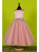 Wholesale Dresses Exquisite Flower - Jewel Flower Girl Dresses for Weddings With Exquisite Sash Birthday Gowns Bow Flowergirl Little Girl Pageant Dress Birthday Gowns Bow