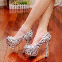 elmas gümüş balo ayakkabıları toptan satış-Lüks Mezuniyet Partisi Prom Ayakkabıları Yüksek Topuklu Gümüş Kristaller Hatıraları Gelin düğün ayakkabıları Elmas Lady Ayakkabı düğün Partisi için