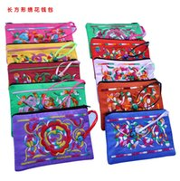 Wholesale Chinese Small Party Gifts - Colorful Small bell Zipper Pouch Chinese Coin Purse Card Holder Wedding Party Favor Satin Fabric Embroidered Gift Packaging Bag 15 x 9 cm