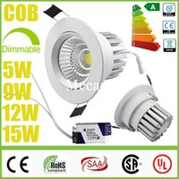 5W 9W 12W 15W Yes LED White shell CREE 5W 9W 12W 15W Dimmable Non COB LED Downlights+Power Supply Tiltable Fixture Recessed Ceiling Down Lights Lamps CE CSA SAA