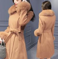 Wholesale imitation fur coats - Fashion Women Winter Fox Fur Collar Trench Coats 2018 High Imitation Fur Collar Zipper Trench Coat New Style Woolen Coat