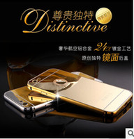 Wholesale thinnest metal iphone 5s bumpers - 2015 Luxury Aluminum Ultra-thin Mirror Metal Bumper Case Clear PC Cover frame for iPhone 6 Plus 5S Samsung Galaxy S6 edge
