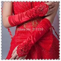 rote paillettenhandschuhe großhandel-Neue lange rot weiß Elfenbein Hochzeit Handschuh Satin Spitze Blume Perlen Pailletten Opera fingerlose Brauthandschuhe