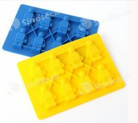 Wholesale Mini Silicon Mould - Figurine Robot Ice Mold Trays Cream Stylus Makers Lego Cake Moulds Tray Use for Kitchen Silicon Mini Robot Tray Free DHL Factory Direct