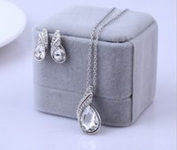 Wholesale Wholesale China Girls Summer Dress - Summer Style Fashion Austria Crystal Water Drop Leaves Earrings Necklaces Jewelry Sets Wedding Dress Jewelry Set For Women MG
