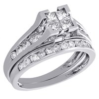 Princess Cut Diamond Set da sposa 14K White Gold Round Engagement Ring Band 1 TCW