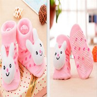 Wholesale Socks Antislip Baby - Wholesale-Cute pink rabbit Cartoon shoes socks for 0-6 Months Unisex baby socks Infants baby girl antislip Socks toddler Slipper Boots