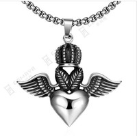 Wholesale Flying Heart Necklace - Mayan, foreign trade hot rock hip-hop style flying heart pendant necklace men GMYN046