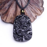 pendentif collier de jade noir achat en gros de-Gros-Drop Shipping Unique naturel noir Obsidian sculpture Dragon chanceux amulette pendentif collier pour les femmes hommes pendentifs Jade bijoux