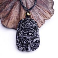 ingrosso nero giada scolpito ciondolo drago-Trasporto di goccia all'ingrosso unico naturale nero ossidiana intaglio drago fortunato amuleto ciondolo collana per le donne degli uomini pendenti gioielli di giada