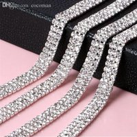 Wholesale Sew Crystal Glass - Wholesale-5 Yards 3mm Glass 888 Rhinestone Chain Trimming Sew On Silver Base Density Strass Crystal Cup Chain For Cake Ribbon Decoration