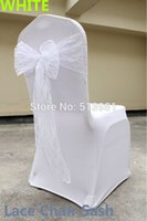 Wholesale Best Chair Sashes Wedding - Wholesale-30pcs white Lace Chair Sash Wedding christmas party Decoration,big discount ,best custom service ,high quality free shipping