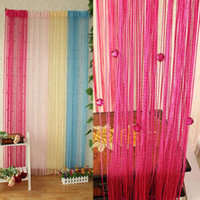 Wholesale Window Curtains Panels Blue - Sheer Curtains 13 Colors Beaded String Line Curtain Window Door Panel Room Divider Curtain