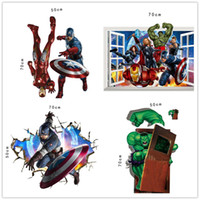 Wholesale Mix Order Kids Wall Stickers - DHL Ship Mix Order The Avengers 3D wall decals stickers Avengers wall stickers kids room decor cartoon decals removable wall paper windows