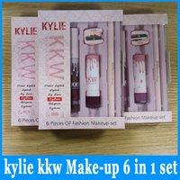 Wholesale Cosmetic Eyeliner Sharpener - New Kylie Cosmetics kkw 6in1 Set kylie jenner Cneme lip gloss liner eyeliner sharpener eyebrow KYLIE Cosmetics 6in1 sets Makeup Beautr