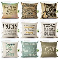 Wholesale Letter Cushion Covers - letters cushion cover love quote chair chaise throw pillow case english words almofadas decorative home cojines