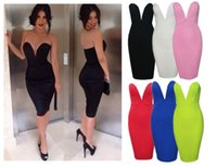 Wholesale Green Strapless Bodycon Dress - 2015 NEW FREE POST SEXY STRAPLESS DEEP V PLUNGE BODYCON STRETCH PENCIL KNEE LENGTH PENCIL CLUBWEAR COCKTAIL PARTY PROM DRESS DK8505AM