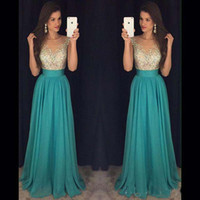 Wholesale sexy wedding evening party dresses resale online - Prom Dresses Evening Dresses Sexy See Through Ruffled Waist Beaded Long Party Dresses Wedding Ball Gowns with Crystals