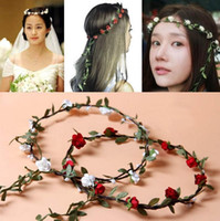Wholesale Wholesale Antique Lace - New Fashion Hot Wedding Bridal Girl Head Flower Crown Rattan Garland Hawaii flower head wreath Hair Formal Stunning Green Accessories FG