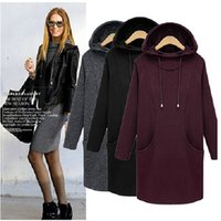 Wholesale Black Cashmere Dress Coat Women - 2015 new winter large size women loose sleeve Hooded Coat with long thickened cashmere sweater dress