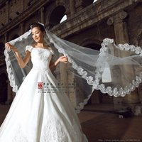 Wholesale Wholesale Netting - Hot Selling Cheap Bridal Veils Vintage White Ivory Long Netting Wedding Bridal Veil One Layer Applique Lace Wedding Veils veu de noiva