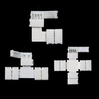 Wholesale Dc Splitter Connectors - Wholesale-5pcs 8mm 3528smd 10mm 5050smd 2pin single color 4 pin rgb Splitter Quick solderless Corner Connector Adapter for LED Strip light