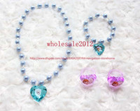 Wholesale Wholesale Plastic Jewerly - Free shipping 20 set lot Frozen Hair Accessories for Girls Children's Frozen Jewelry Sets Girls Necklace Bracelet Rings with Jewerly Box
