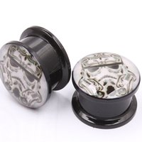 Wholesale Acrylic Flare Plugs - Acrylic STAR WARS LOGO Ear Gauge Plug And Tunnel Doubled Flared Stretcher Expander 4-16mm Screw Fit Plug Piercing 2pcs lot
