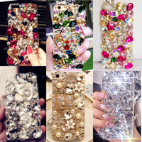 Wholesale Iphone Case 3d Crystals - Rhinestones Top Quality Phone Cases For Iphone 7 Big Stones Beads 3d Bling Crystal Hard And Soft Back Cover For Samsung Galaxy