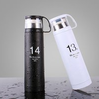 Wholesale cap press - Stainless Steel Water Bottle Heat Resisting 1314 Design Mug Outdoor Portable Vacuum With Cup Tumbler Design Cap For Travel 15 84co CZ