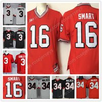 Wholesale Black Walkers - Georgia Bulldogs throwback #16 Kirby Smart 3 Todd Gurley II 34 Herschel Walker Mens Youth Kids Sitched College Football Red Black Jerseys