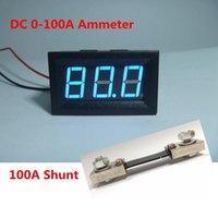 ampèremètre ampèremètre achat en gros de-Ampèremètre courant ampèremètre DC 0-100A de Digital ampm avec affichage à led bleu et résistance shunt 100A / 75mV