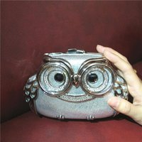 Wholesale Hot Sell Bags - Free Shipping TOP Quality Tin Owl Evening Bags Hard Box Clutch Handbags Silver Metal Owl Single Shoulder Bags Hot SELLING