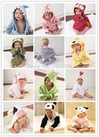 Wholesale Baby Animal Bath Towel - Retail-14 designs Baby Hooded kids bath towel Animal Modeling Swimming bathrobe Baby cartoon Pajamas