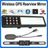 Wholesale Gps Navigator Mirror - 4.3 inch Bluetooth GPS Navigation Wireless AVIN Car Mirror Rearview Camera System FM Game WinCE 6.0 Navigator With 4GB Maps