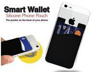 3m carteiras inteligentes venda por atacado-50 pçs / lote Silicone Telefone Inteligente Carteira Titular do Cartão de Crédito Stick-On Carteira Inteligente Silicone Celular Bolsa 3 M Sticky