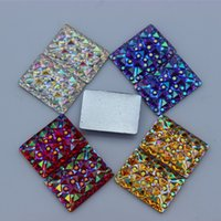 Wholesale 14mm Flatback Rhinestones - 100PCS 10*14MM Newest AB Crystal Acrylic Rectangle flatback Rhinestones Beads Scrapbooking crafts Jewelry Accessories ZZ191