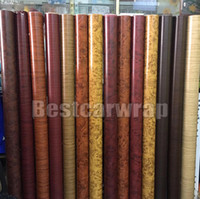 Wholesale Wood Grain Vinyl - Various Color Wood grain Vinyl Wrap With air bubble free For Car Exterior and Inteiror Wrap covering stickers Size 1.52x20m  Roll 5X67ft