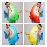 Wholesale Silk Chinese Fan Dance - Chinese silk dance fan Handmade fans Belly Dancing props 5 colors