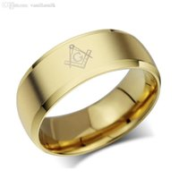 Wholesale Wholesale Masonic Rings - Wholesale-18k Gold Plated Free Mason Rings For Man Stainless Steel Freemason Masonic Ring Wholesale Price