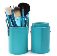 12 stück schröpfen großhandel-12 STÜCKE Make-up Pinsel Set + Getränkehalter Professionelle 12 stücke Make-Up Pinsel Set Kosmetik Pinsel Mit Zylinder Cup Holder