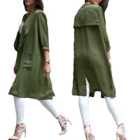 Wholesale Trench Coat Femme - Wholesale-Fashion Chiffon Cardigan Trench Coat for Women Waterfall Open Front Pocket Long Sleeve Thin Coat Blouse Manteau Femme Army Green