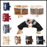 Wholesale girls fingerless gloves black - Winter Warm Fingerless Gloves 16colors Rabbit Fur Hand Wrist Glove Half-fingers Mittens for Lady Women Girls
