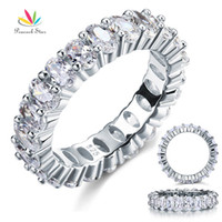 Wholesale Diamond Eternity Bands - Wholesale-Wholesale Oval Cut Eternity 5 Ct Solid Sterling 925 Silver Wedding Ring Band Jewelry Created Diamond CFR8069