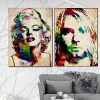 Wholesale Marilyn Monroe Art Posters - Pop art portrait canvas painting giant posters vintage style picture Marilyn Monroe Kurt Cobain water color prints modern art