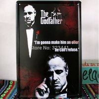 Wholesale The Godfather Marlon Brando Poster painting Tinplate Home Bar walldecor coffee shop decoration wall hangings rustic plate order lt no track