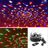 Wholesale Led Rechargeable Dj - Wholesale-Digital LED RGB Crystal Magic Ball Effect Light Disco DJ Bar Lights For Wedding Party Holiday Rechargeable AC 90-240V High Qual